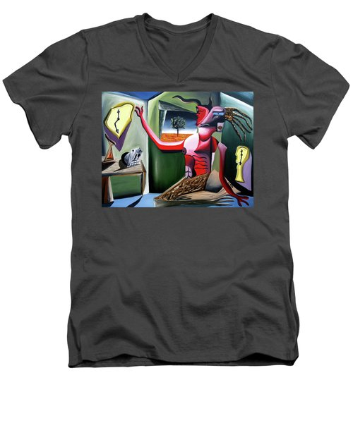 Men's V-Neck T-Shirt featuring the painting Contemplifluxuation by Ryan Demaree