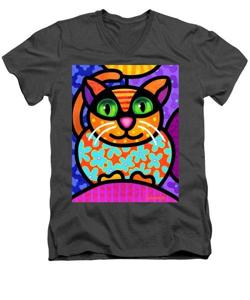 Contented Cat Men's V-Neck T-Shirt