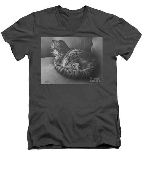 Men's V-Neck T-Shirt featuring the drawing Contentment by Pamela Clements