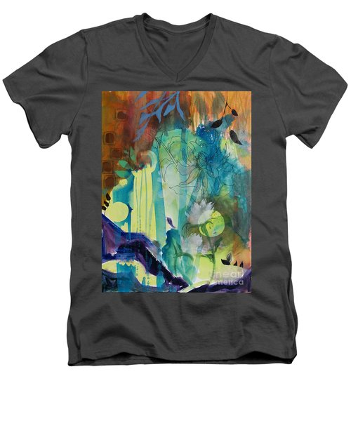 Men's V-Neck T-Shirt featuring the painting Continuum by Robin Maria Pedrero