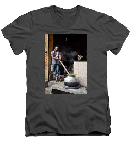 Cooking Breakfast Early Morning Lahore Pakistan Men's V-Neck T-Shirt by Imran Ahmed