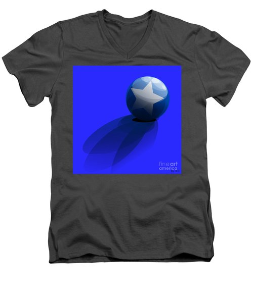 Men's V-Neck T-Shirt featuring the digital art Blue Ball Decorated With Star Grass Blue Background by R Muirhead Art