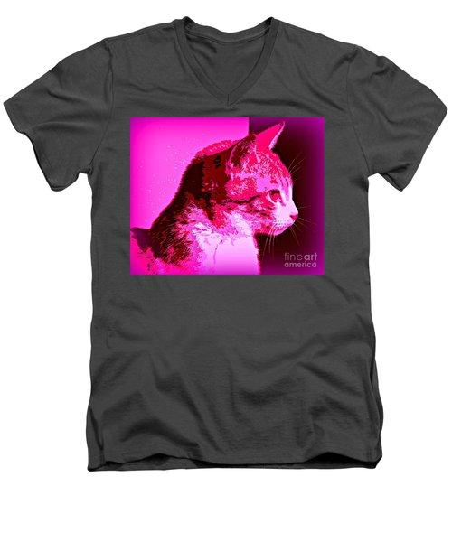 Cool Cat Men's V-Neck T-Shirt by Clare Bevan