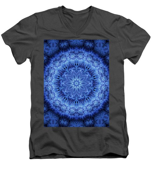Men's V-Neck T-Shirt featuring the digital art Cool Down Series #2 Frozen by Lilia D