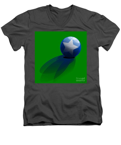 Men's V-Neck T-Shirt featuring the digital art Blue Ball Decorated With Star Grass Green Background by R Muirhead Art