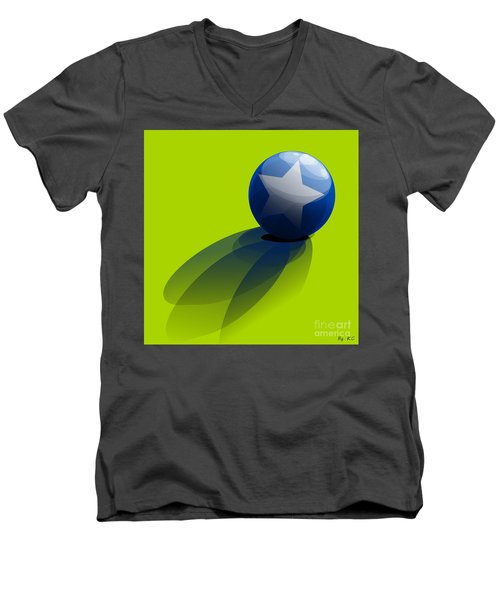Men's V-Neck T-Shirt featuring the digital art Blue Ball Decorated With Star Green Background by R Muirhead Art