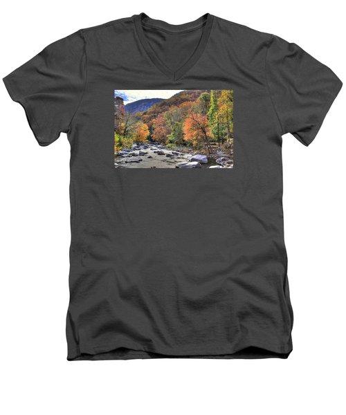 Cool Mountain Stream Men's V-Neck T-Shirt