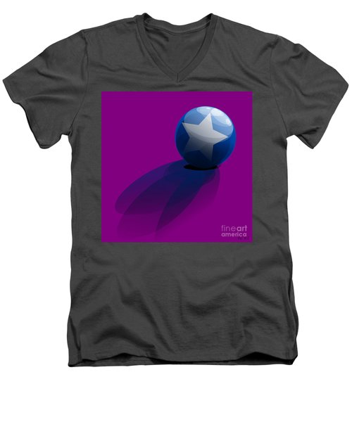 Men's V-Neck T-Shirt featuring the digital art Blue Ball Decorated With Star Purple Background by R Muirhead Art