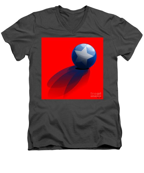 Men's V-Neck T-Shirt featuring the digital art Blue Ball Decorated With Star Red Background by R Muirhead Art
