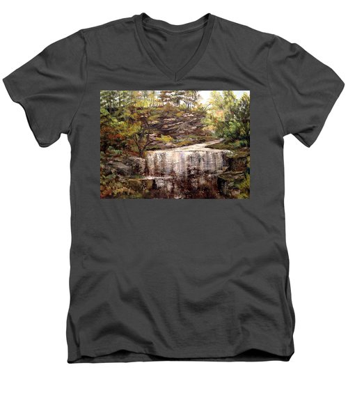 Men's V-Neck T-Shirt featuring the painting Cool Waterfall by Dorothy Maier