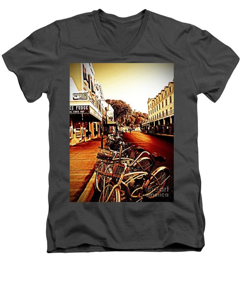 Copper And Rust Men's V-Neck T-Shirt by Desiree Paquette