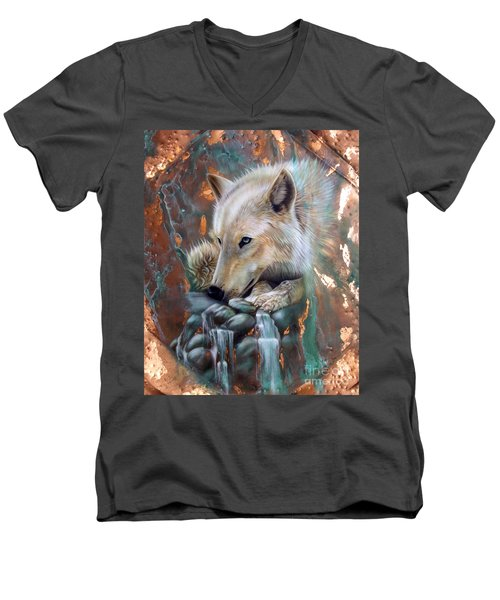 Copper Arctic Wolf Men's V-Neck T-Shirt