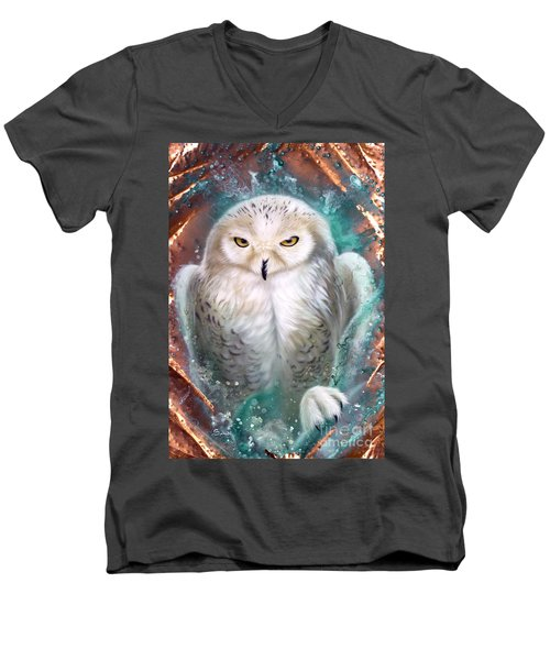 Copper Snowy Owl Men's V-Neck T-Shirt