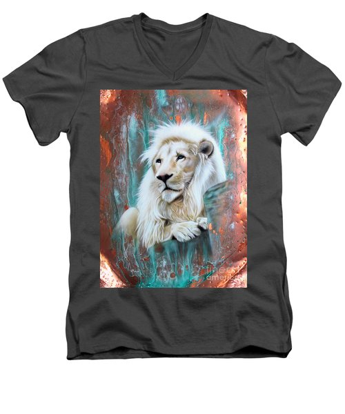 Copper White Lion Men's V-Neck T-Shirt