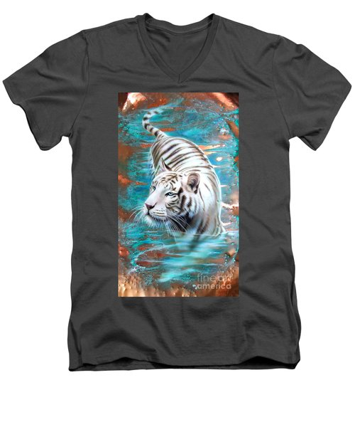 Copper White Tiger Men's V-Neck T-Shirt