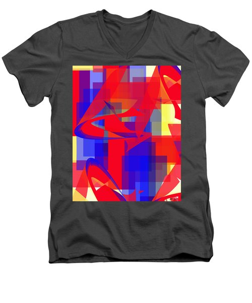 Men's V-Neck T-Shirt featuring the digital art Copter Sunrise by Stephanie Grant