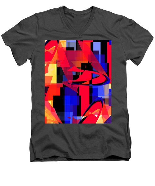 Men's V-Neck T-Shirt featuring the digital art Copter Sunset by Stephanie Grant