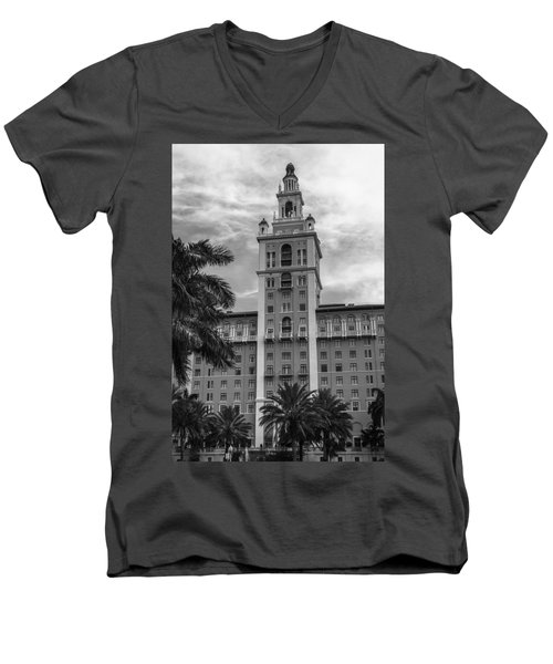 Coral Gables Biltmore Hotel In Black And White Men's V-Neck T-Shirt