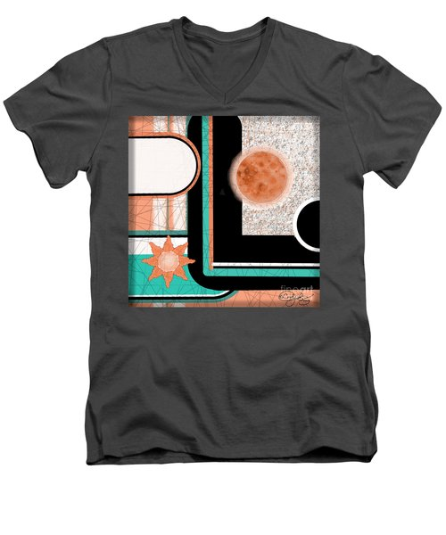 Men's V-Neck T-Shirt featuring the painting Coral Moon by Carol Jacobs