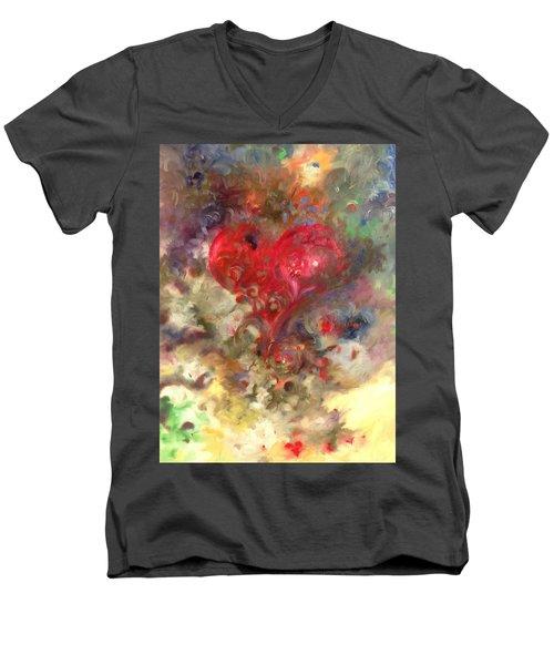 Corazon Men's V-Neck T-Shirt by Julio Lopez