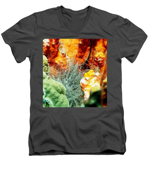 Corkscrew Anemone Grove Men's V-Neck T-Shirt by Amy McDaniel