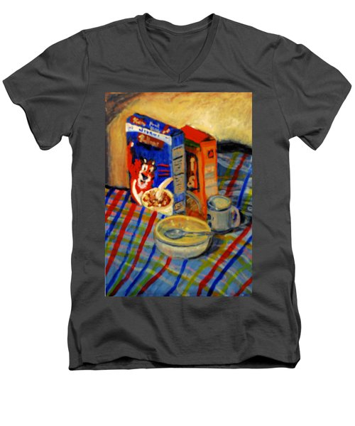 Men's V-Neck T-Shirt featuring the painting Corn Flakes by Michael Daniels