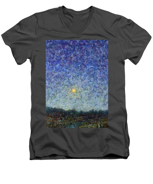 Men's V-Neck T-Shirt featuring the painting Cornbread Moon by James W Johnson