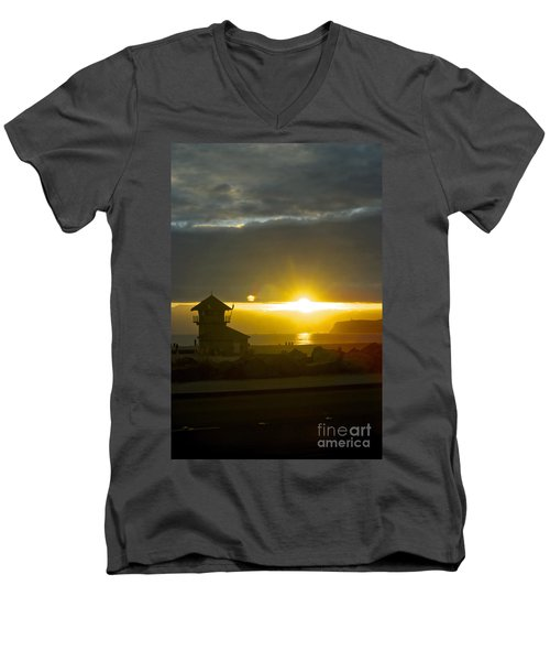 Coronado's Beach At Sunset Men's V-Neck T-Shirt by Claudia Ellis