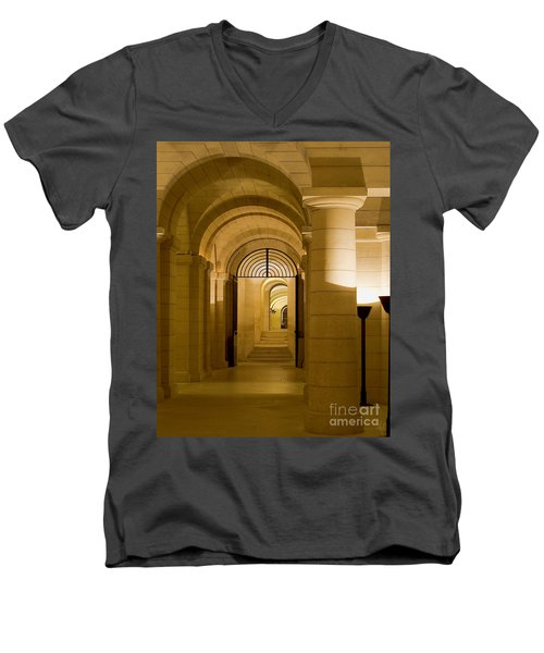 Men's V-Neck T-Shirt featuring the photograph Corridors by Victoria Harrington