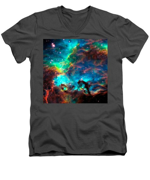 Cosmic Cradle 2 Star Cluster Ngc 2074 Men's V-Neck T-Shirt by Jennifer Rondinelli Reilly - Fine Art Photography