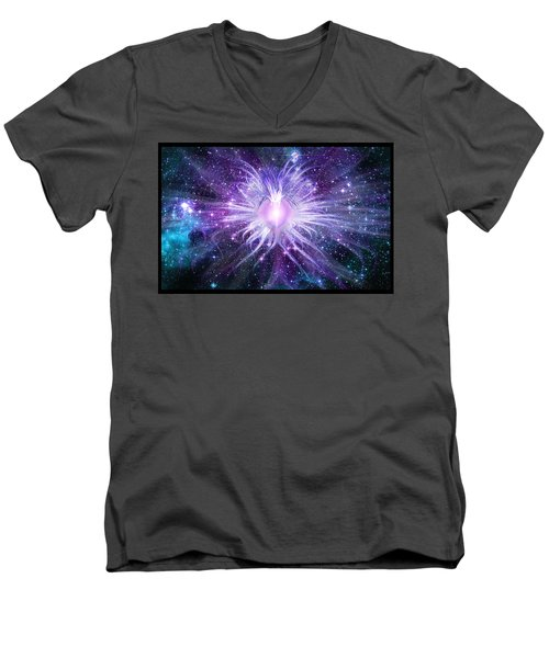 Men's V-Neck T-Shirt featuring the digital art Cosmic Heart Of The Universe by Shawn Dall