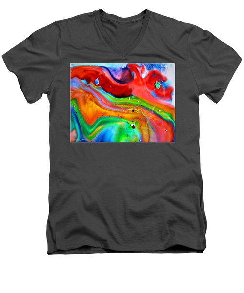 Men's V-Neck T-Shirt featuring the painting Cosmic Lights by Joyce Dickens