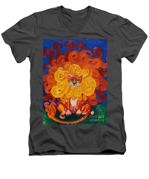 Men's V-Neck T-Shirt featuring the painting Cosmic Lion by Cassandra Buckley