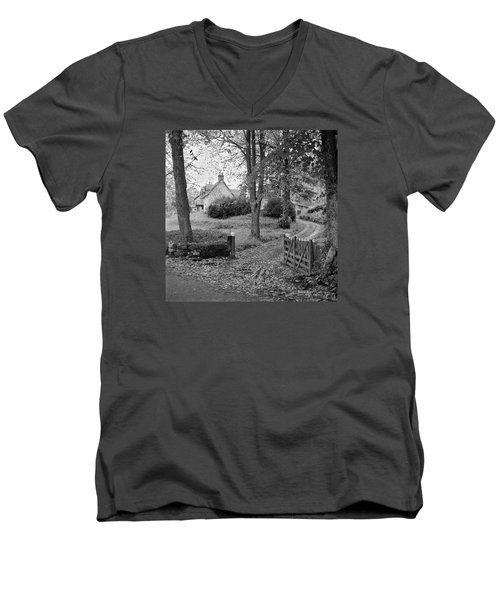Men's V-Neck T-Shirt featuring the photograph Cottage On Loch Ness - Scotland 1972 - Travel Photography By David Perry Lawrence by David Perry Lawrence
