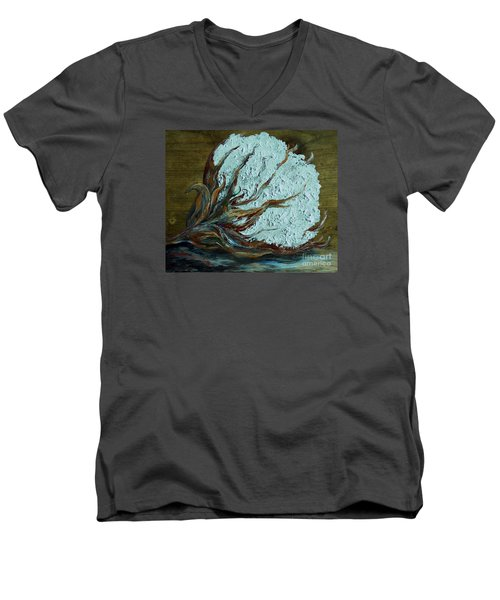 Cotton Boll On Wood Men's V-Neck T-Shirt by Eloise Schneider