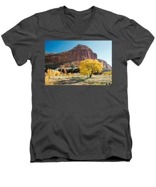 Cottonwoods In Fall The Castlecapitol Reef National Park Men's V-Neck T-Shirt