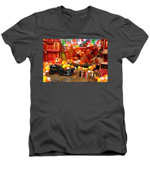 Count And Countess Dracula Inadvertently Took Their Daughters Trick Or Treating At The Van Helsings Men's V-Neck T-Shirt by Lon Casler Bixby
