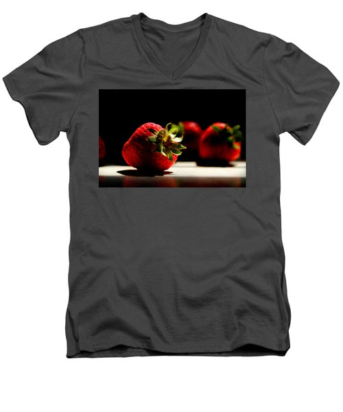 Countertop Strawberries Men's V-Neck T-Shirt by Michael Eingle