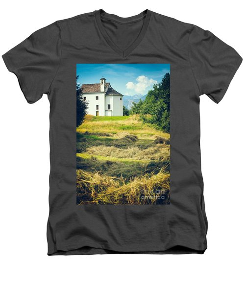 Men's V-Neck T-Shirt featuring the photograph Country Church With Hay by Silvia Ganora