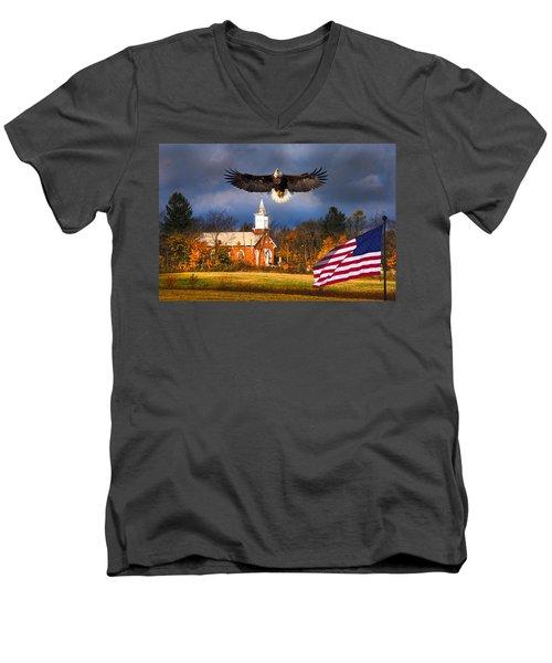 country Eagle Church Flag Patriotic Men's V-Neck T-Shirt
