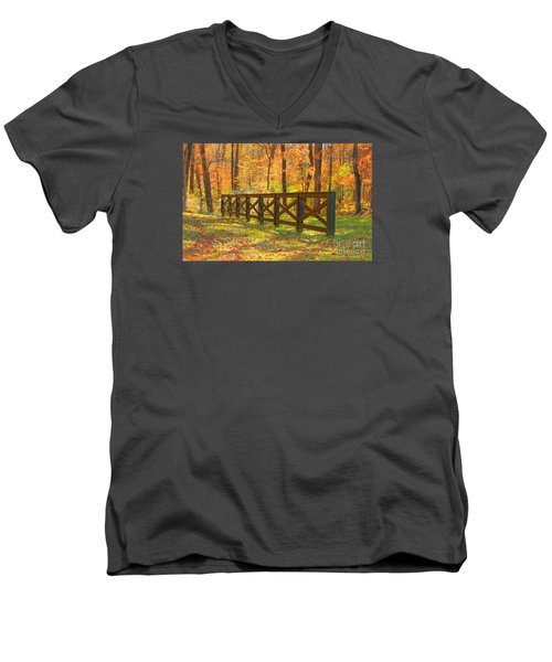 Men's V-Neck T-Shirt featuring the photograph Country Fence by Geraldine DeBoer