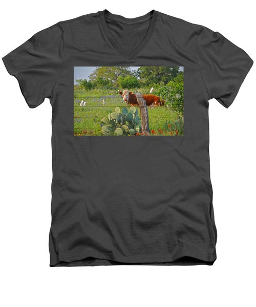 Country Friends Men's V-Neck T-Shirt by Lynn Bauer