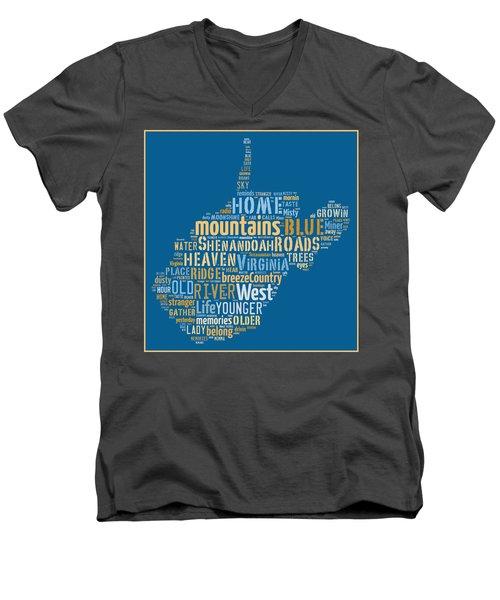 Country Roads 3 Men's V-Neck T-Shirt by Paulette B Wright