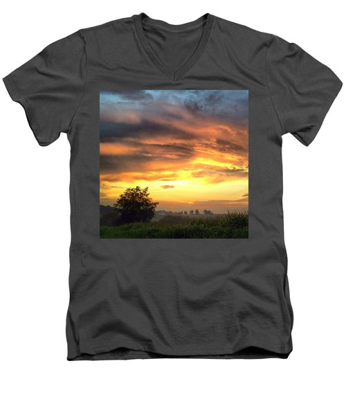 Country Scene From Hilltop To Hilltop Men's V-Neck T-Shirt