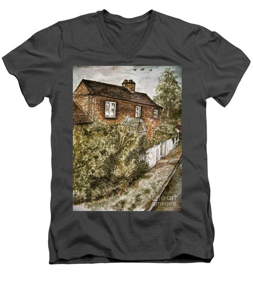Old English Cottage Men's V-Neck T-Shirt by Teresa White