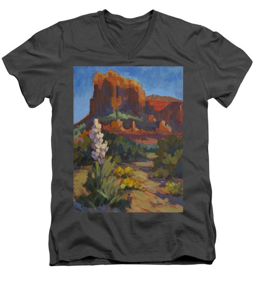 Courthouse Rock Sedona Men's V-Neck T-Shirt by Diane McClary