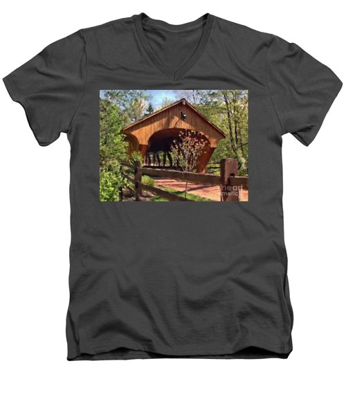 Covered Bridge At Olmsted Falls-spring Men's V-Neck T-Shirt
