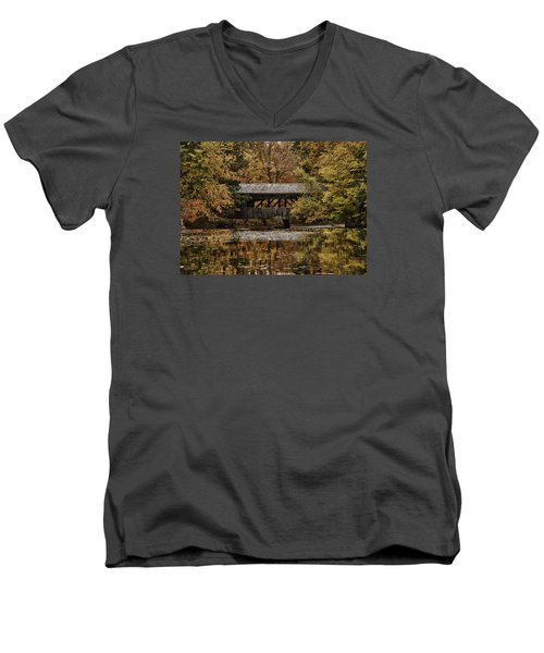 Men's V-Neck T-Shirt featuring the photograph Covered Bridge At Sturbridge Village by Jeff Folger