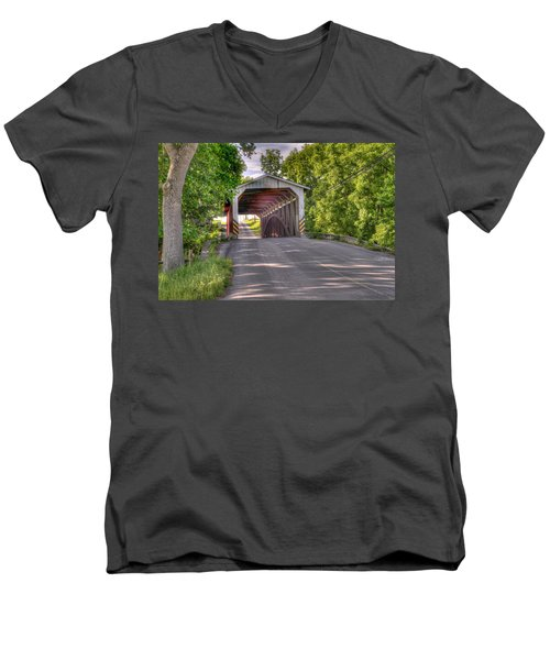 Men's V-Neck T-Shirt featuring the photograph Covered Bridge by Jim Thompson