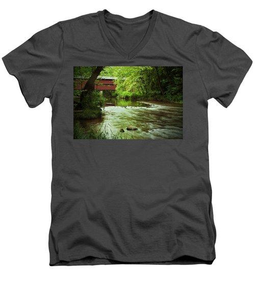 Covered Bridge Over French Creek Men's V-Neck T-Shirt